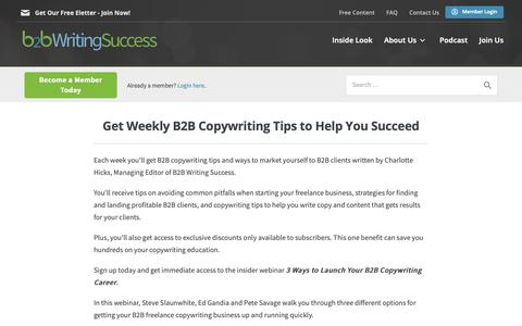 Screenshot of Signup Page b2bwritingsuccess.com - Sign Up for the B2B Writing Success Free E-letter - captured April 11, 2019
