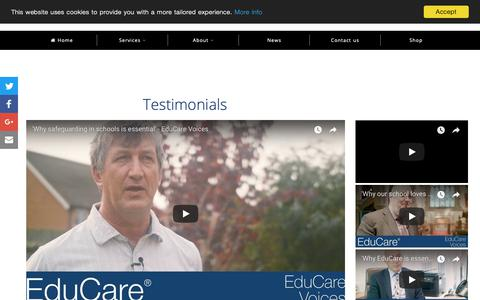 Screenshot of Testimonials Page educare.co.uk - What our customers say | EduCare - captured Sept. 27, 2018