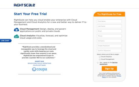 Screenshot of Trial Page rightscale.com - RightScale Free Trial | Cloud Portfolio Management - captured Oct. 28, 2014