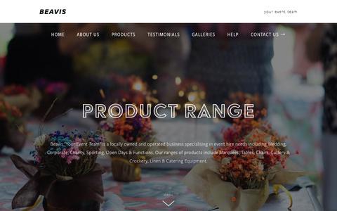 "Screenshot of Products Page beavisparty.com.au - Product Range | Beavis ""Your Event Team"" — BEAVIS - captured July 1, 2018"