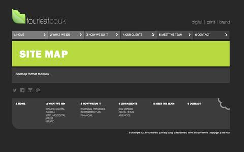 Screenshot of Site Map Page fourleaf.co.uk - Fourleaf - digital design agency | print design agency | brand design agency - London, Surrey - captured Sept. 30, 2014