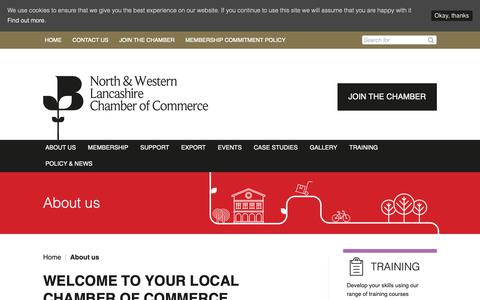 Screenshot of About Page lancschamber.co.uk - About us - North & Western Lancashire Chamber of Commerce - captured Oct. 18, 2018
