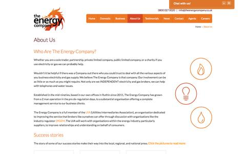 Screenshot of About Page theenergycompany.co.uk - About Us - The Energy Company (UK) Ltd - captured Oct. 26, 2014