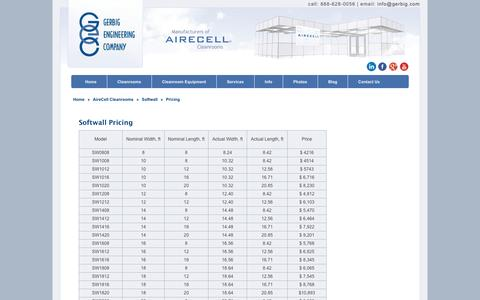 Screenshot of Pricing Page gerbig.com - Pricing   Gerbig Engineering Company   Cleanrooms by AireCell - captured Oct. 2, 2014
