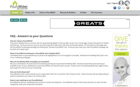 Screenshot of FAQ Page poundwishes.com - PoundWishes: FAQ - captured Dec. 10, 2015