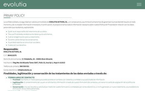 Screenshot of Privacy Page evolutia.eu - Política de privacidad | Evolutia - captured Sept. 29, 2018
