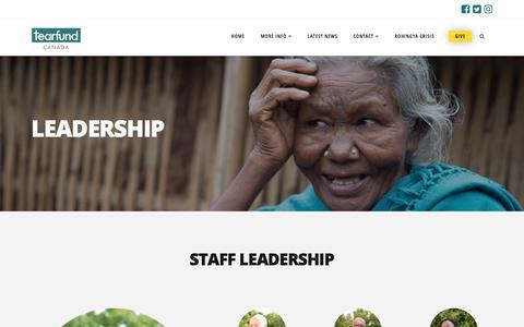 Screenshot of Team Page tearfund.ca - Leadership   Tearfund Canada - captured June 29, 2018