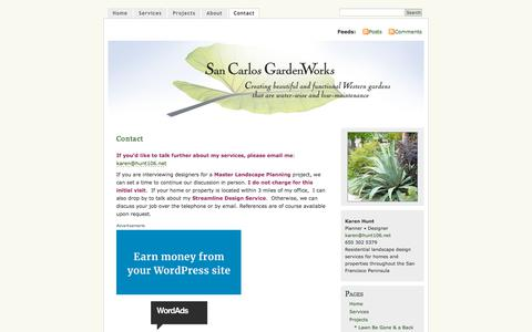 Screenshot of Contact Page sancarlosgardenworks.com - Contact | San Carlos GardenWorks :: Residential Landscape Design | Fine Gardening | Private Homes & Businesses | San Francisco Peninsula & San Carlos :: Karen Hunt - captured July 27, 2018