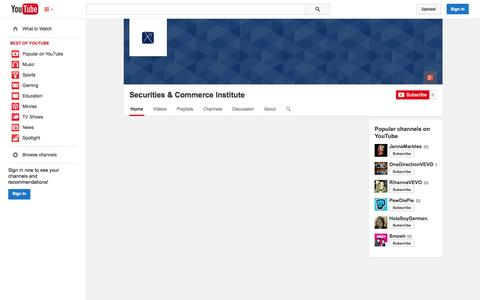Screenshot of YouTube Page youtube.com - Securities & Commerce Institute  - YouTube - captured Oct. 27, 2014