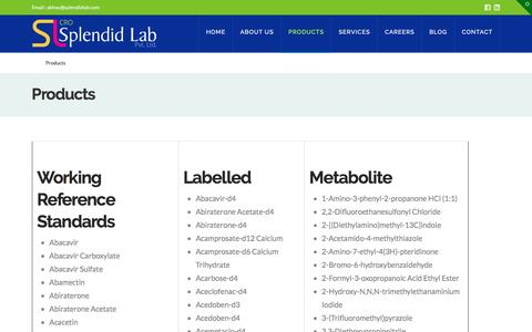 Screenshot of Products Page splendidlab.com - Custom Synthesis Services in India:Splendid Lab:Synthesis Service - captured May 9, 2017