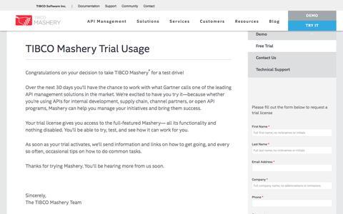 Screenshot of Trial Page mashery.com - TIBCO Mashery Trial Usage | Mashery - captured May 9, 2017