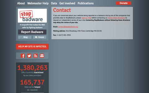 Screenshot of Contact Page stopbadware.org - Contact | StopBadware - captured Sept. 19, 2014