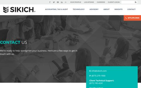 Screenshot of Contact Page sikich.com - Contact - Sikich LLP - captured Oct. 7, 2017