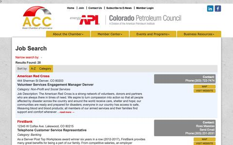 Screenshot of Jobs Page acccolorado.org - Job Search - Asian Chamber of Commerce, CO - captured Oct. 4, 2018