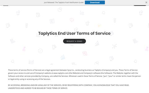 Screenshot of Terms Page taplytics.com - (2) New Messages! - captured March 10, 2018