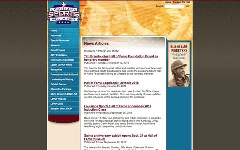 Screenshot of Press Page lasportshall.com - News Articles - Louisiana Sports Hall of Fame - captured Nov. 13, 2016