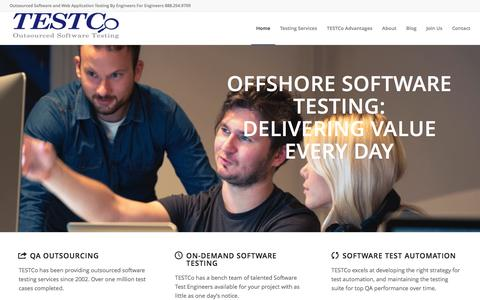 Screenshot of Home Page testco.com - Offshore Software Testing | QA Outsourcing | Outsource Testing - TESTCo - captured Feb. 14, 2016