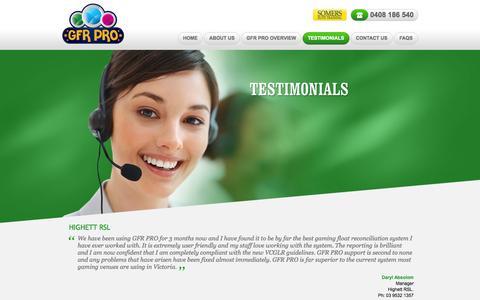 Screenshot of Testimonials Page gfrpro.com.au - Testimonials - captured Oct. 1, 2014