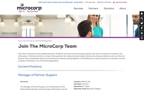 Screenshot of Jobs Page microcorp.com - Join The MicroCorp Team - MicroCorp - captured Aug. 10, 2016