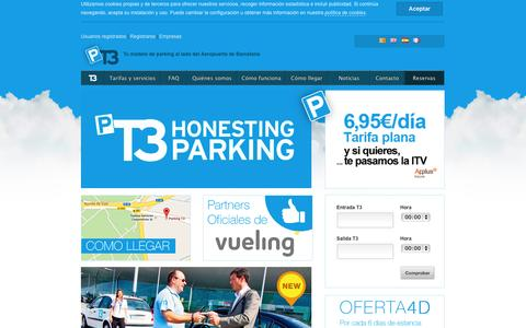 Screenshot of Home Page parkingt3.es - Tu Parking junto al Aeropuerto de Barcelona | ParkingT3 - captured Sept. 27, 2014