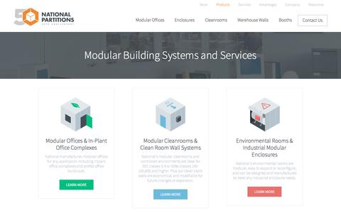 Screenshot of Products Page nationalpartitions.com - National | Modular Building Systems and Services - captured Nov. 29, 2016
