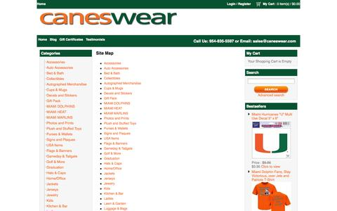 Screenshot of Site Map Page caneswear.com - Miami FanWear apparel and merchandise - captured Sept. 29, 2014