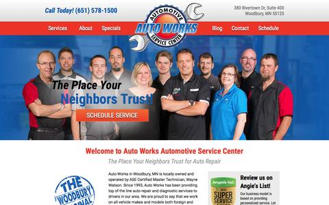 Screenshot of Home Page autoworksmn.com - Auto Works | Woodbury, MN | Auto Repair - captured Jan. 23, 2015