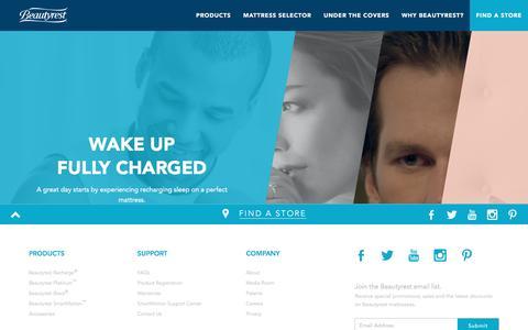 Screenshot of Home Page beautyrest.com - Top-Rated Mattresses | Find a Mattress Store | Beautyrest - captured Nov. 29, 2016