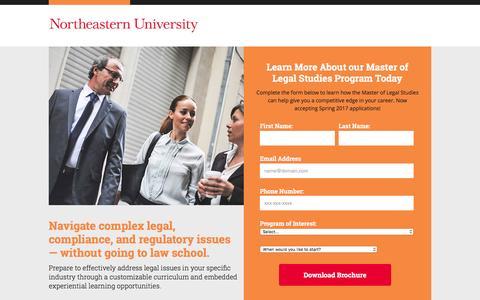 Screenshot of Landing Page northeastern.edu - Northeastern University - captured Dec. 11, 2016