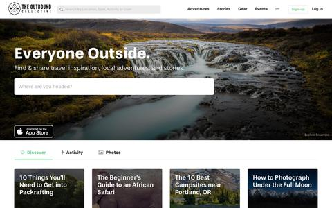 Screenshot of Home Page theoutbound.com - The Outbound Collective - captured April 23, 2018