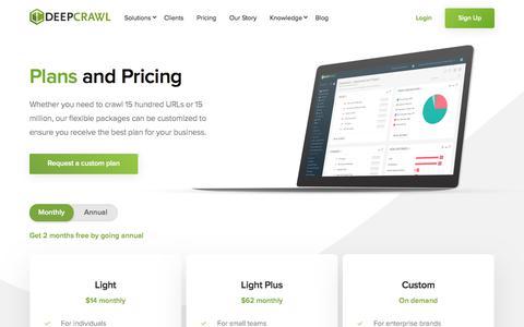Screenshot of Pricing Page deepcrawl.com - Pricing | DeepCrawl Website Crawler - captured Oct. 25, 2019