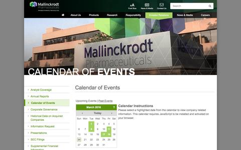 Screenshot of mallinckrodt.com - Calendar of Events | Mallinckrodt Pharmaceuticals - captured March 20, 2016
