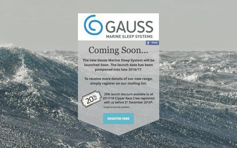 Screenshot of Home Page gaussmarine.com - Gauss Marine | Fleece-lined waterproof Sleeping Bags for Ocean Sailors - captured July 18, 2017
