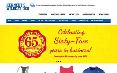Screenshot of Home Page kennedys.com - Kennedy's Wildcat Den | Official Textbooks, Supplies, UK Clothing, Gifts and Souvenirs for the University of Kentucky - captured Sept. 6, 2015
