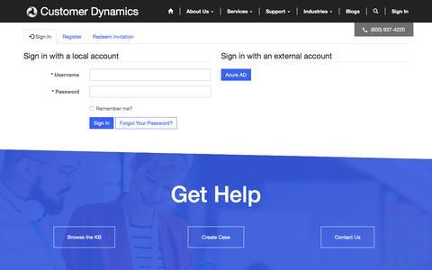 Screenshot of Login Page customerdynamics.com - Home· Community Portal - captured May 24, 2017