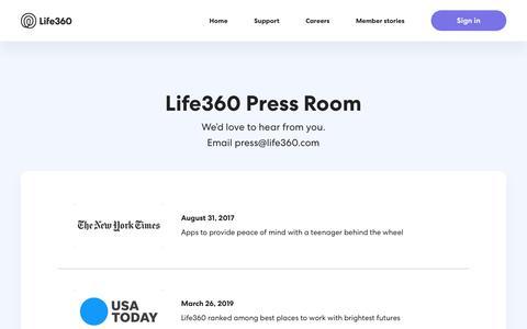 Screenshot of Press Page life360.com - Life360 Press Room – Life360 - captured May 8, 2019
