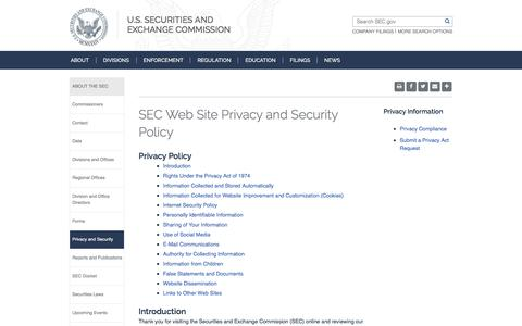 SEC.gov | SEC Web Site Privacy and Security Policy
