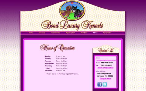 Screenshot of Hours Page bondluxurykennels.com - BOND LUXURY KENNELS - Hours of Operation - captured Oct. 5, 2014