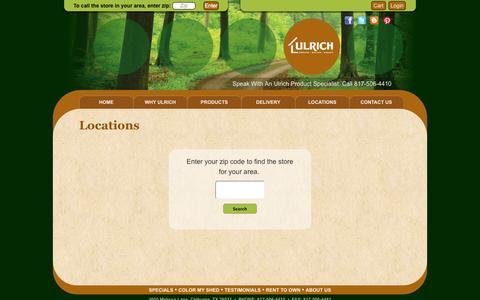 Screenshot of Locations Page ulrichbarns.com - Locations | Ulrich Barn Builders, LLC - captured Oct. 6, 2014