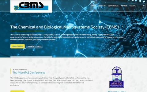 Screenshot of Home Page cbmsociety.org - The Chemical and Biological Microsystems Society (CBMS) - captured April 10, 2017