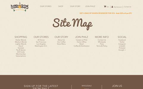 Screenshot of Site Map Page philzcoffee.com - Site Map - captured Sept. 1, 2017