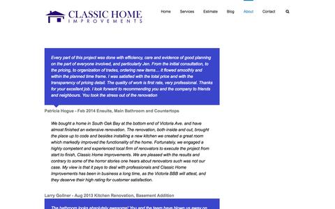 Screenshot of Testimonials Page classichomeimprovements.ca - Classic Home Improvements   –  Feel confident with your renovation contractor! - captured Nov. 2, 2014