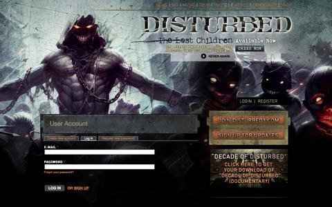 Screenshot of Login Page disturbed1.com - User account | Disturbed - captured Sept. 19, 2014