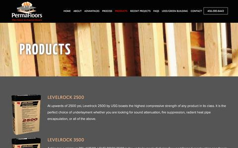 Screenshot of Products Page permafloors.com - Products - Permafloors, Inc. - captured Nov. 5, 2016