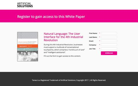 Screenshot of Landing Page artificial-solutions.com - Natural Language: The User Interface for the 4th Industrial Revolution - captured June 30, 2017