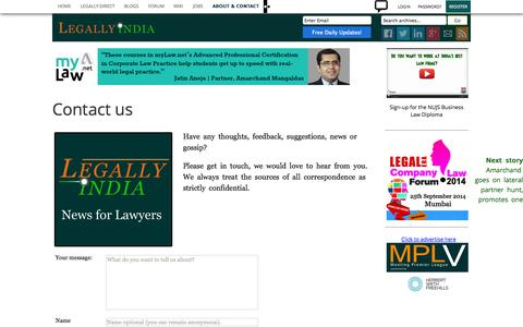 Screenshot of Contact Page legallyindia.com - Contact us | Non-editorial | Legally India - captured Sept. 19, 2014