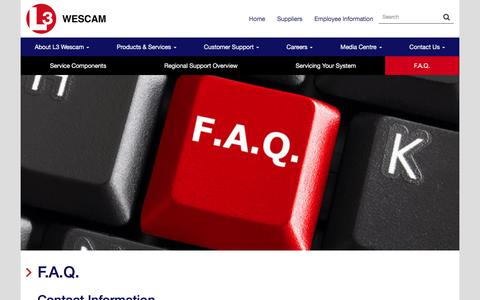 Screenshot of FAQ Page wescam.com - F.A.Q. - L3 WESCAM - captured May 11, 2018