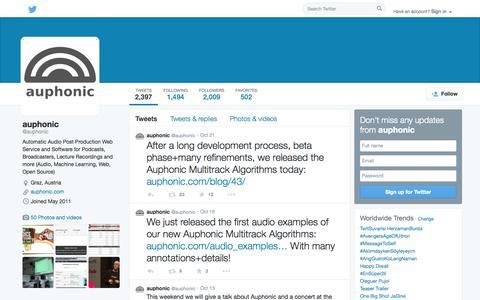 Screenshot of Twitter Page twitter.com - auphonic (@auphonic) | Twitter - captured Oct. 23, 2014