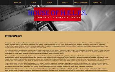 Screenshot of Privacy Page hofhworship.org - Privacy Policy  |  House of H.E.L.P.S. - captured Oct. 3, 2014