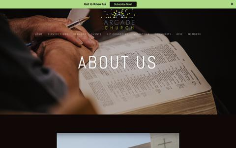 Screenshot of About Page arcadechurchonline.com - About Us — Arcade Church - captured Oct. 8, 2017